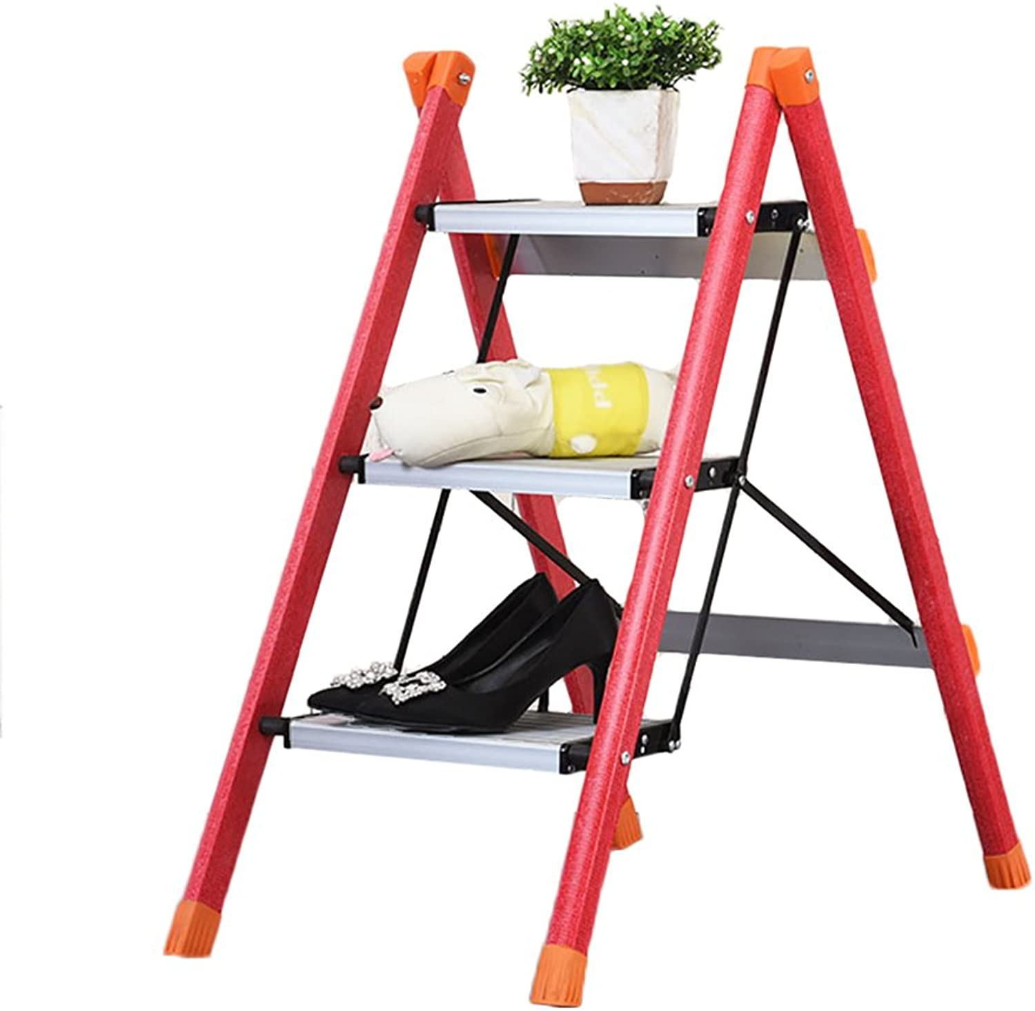 LXJYMX Home Folding Ladder Insulation Ladder, Fiberglass Insulation Ladder, Three-Step Ladder Stool, Aluminum Alloy Pedal Ladder. Climbing Ladder