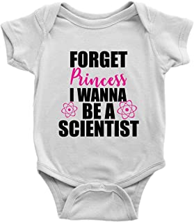 Teehub Forget Princess I Wanna Be A Scientist Onesie Cute Girl Feminist Science Baby Bodysuit (White, 6M)