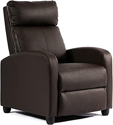 FDW Recliner Chair Single Reclining Sofa Leather Chair Home Theater Seating Living Room Lounge Chaise with Padded Seat Backrest (Brown)