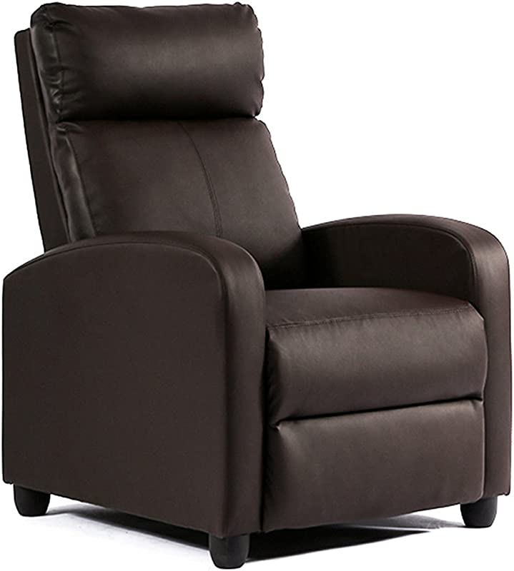 FDW Recliner Chair Single Reclining Sofa Leather Chair Home Theater Seating Living Room Lounge Chaise With Padded Seat Backrest Brown