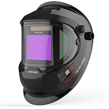 YESWELDER Large Viewing True Color Solar Powered Auto Darkening Welding Helmet with SIDE VIEW, 4 Arc Sensor Wide Shade 4/5-9/9-13 Welder Mask for TIG MIG ARC Grinding Plasma LYG-Q800D