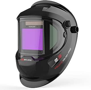 YESWELDER Large Viewing True Color Solar Powered Auto Darkening Welding Helmet with SIDE VIEW, 4 Arc Sensor Wide Shade 4/5-9/9-13 Welder Mask for TIG MIG ARC Grinding Plasma