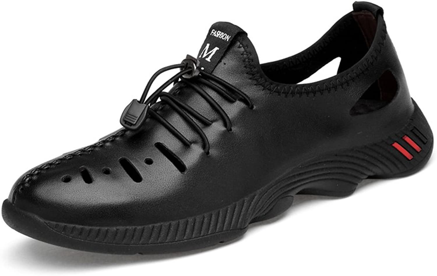 Men's Casual shoes 2018 Summer Fall Mens Tide shoes Genuine Leather Hole shoes Hollow Leisure shoes Large Size 35-47 (color   Black, Size   46)
