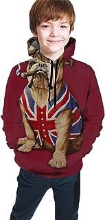 Sudadera con Capucha para niñas y niños Bulldog inglés y Sudadera con Capucha de Bandera británica