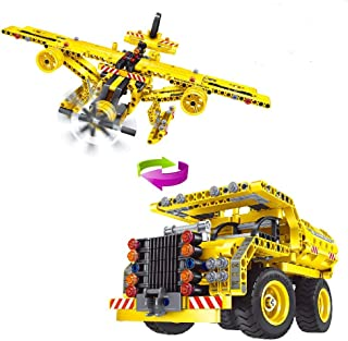 Geekper 2 in 1 Building Blocks Kits for Kids - Truck and Propeller Plane Engineering Machines Construction Set - 361 Pcs