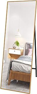 Prolife 姿見 鏡 全身鏡 全身ミラー スタンドミラー アルミ 壁掛け2way 北欧 壁掛け 大きい 割れない おしゃれ (ゴールド, 幅45cmx高い150cm)