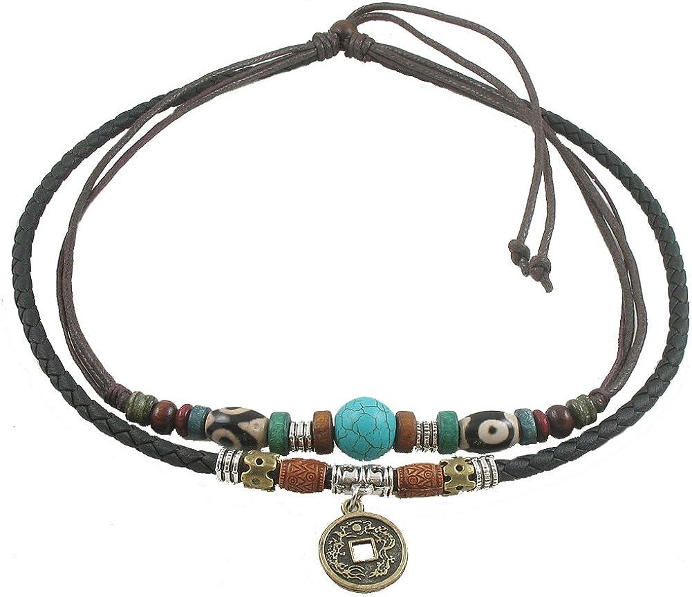 Ancient Tribe Unisex Adjustable Hemp Genuine Leather Necklace Choker Turquoise Bead (Black)