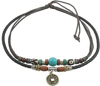 Unisex Adjustable Hemp Black Leather Choker Necklace Turquoise Bead