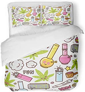 Emvency 3 Piece Duvet Cover Set Breathable Brushed Microfiber Fabric Green Weed Marijuana Kawaii Cartoon Pattern White Cannabis Leaf Smoke Bong Pot Bedding Set with 2 Pillow Covers King Size