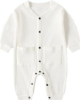 مولود جديد طفل صبي بنت صلب رومبير للجنسين الرضع قطن زر حللا ملابس (Color : White, Size : 80CM)