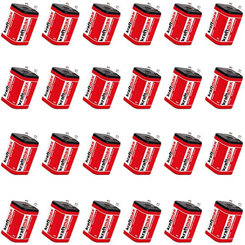 24x Kraftmax 4R25 Batterie Block - 6V / 9500mAh ( 9,5 AH ) - 6 Volt Hochleistungs- Blockbatterie für z.B. Baustellenleuchte / Baustellenlampe / Blinklampe/ Handscheinwerfer - 24 Stück