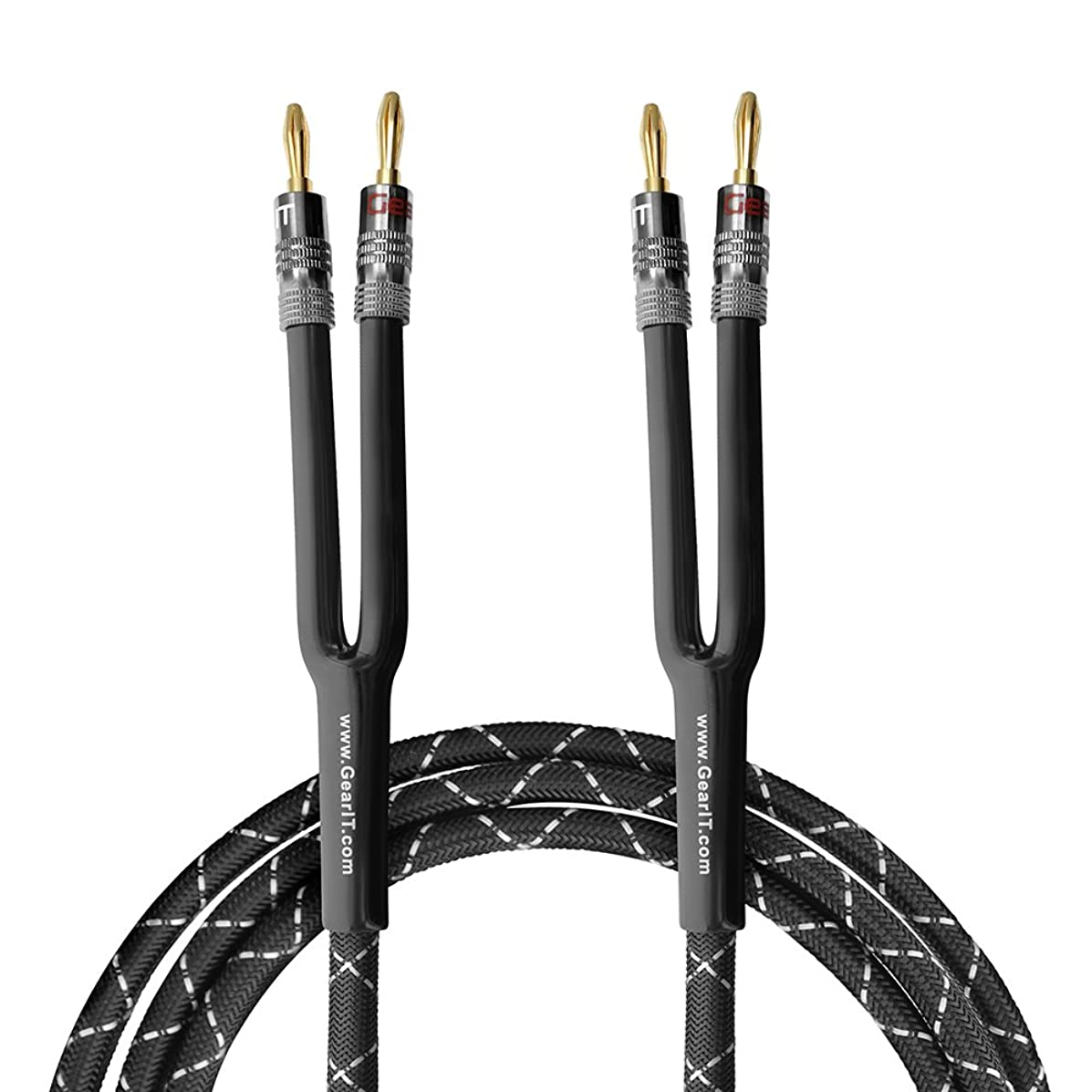GearIT 12AWG Premium Heavy Duty Braided Speaker Wire (35 Feet) with Dual Gold Plated Banana Plug Tips - Oxygen-Free Copper (OFC) Construction, Black