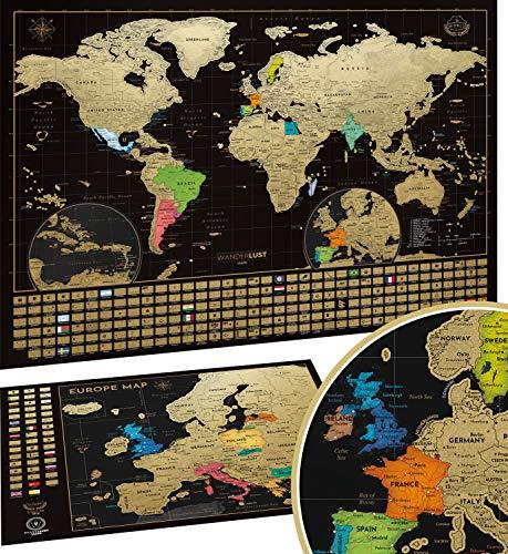 W WANDERLUST MAPS Weltkarte zum Rubbeln (61 x 43cm) + Europakarte zum rubbeln (46x33 cm). inkl. Geschenkverpackung. Hergestellt in der EU