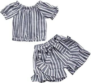 Weixinbuy Baby Girls Summer Clothes Set Short Sleeve Off-Shoulder T-Shirts Tops + Elastic Waist Shorts