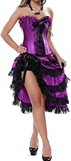 Women's Sexy Satin Overbust Lace up Burlesque Corset with Dress Set