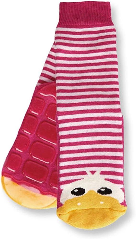Country Kids Little Girls' Non Skid Anti Slip Striped Slipper Socks Cute Animal Duck, Pack of 1