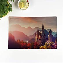 rouihot Set of 8 Placemats Tipical Postcard Majestic Neuschwanstein Castle During Sunset with Colorful Clouds Non-Slip Doily Place Mat for Dining Kitchen Table