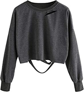Women's Long Sleeve Crop T-Shirt Distressed Ripped Cut Out Tee Tops