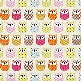 Fabulous Fabrics Baumwollstoff Cretonne Eulen – Creme —