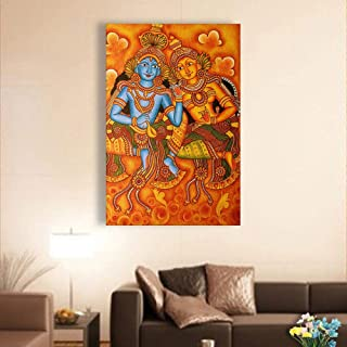Inephos Unframed Canvas Painting - Beautiful Radha Krishna Kerala Mural Art Wall Painting for Living Room, Bedroom, Office, Hotels, Drawing Room (24 inches X 36 inches)