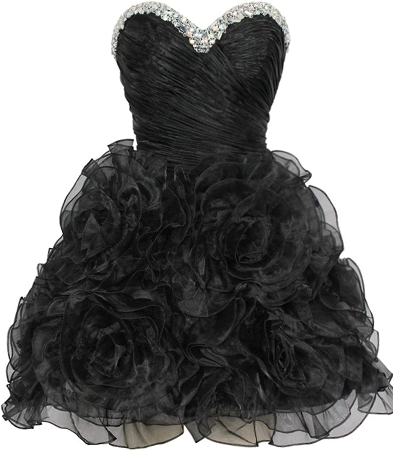 Lowime Women's Sweetheart Twirl Organza Short Homecoming Prom Cocktail Dresses Size 10 US Black