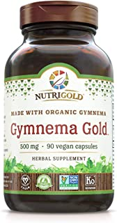 Nutrigold Organic Gymnema Sylvestre Gold for Blood Sugar Support, 500 Mg, 90 Capsules