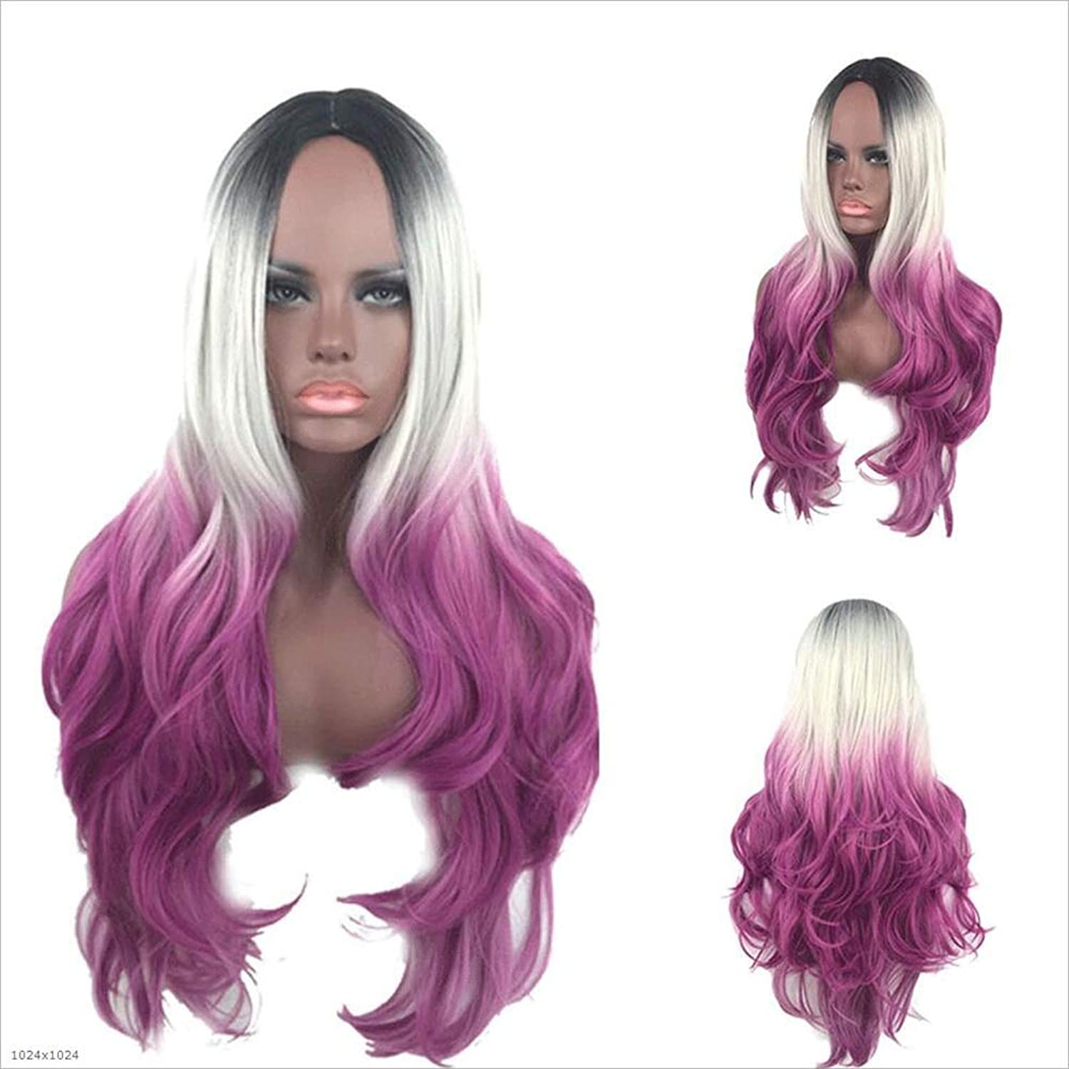 MYMAO Wig Female Cosplay Gradient Long Curly Hair Dyed pink Net