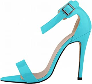 Wotefusi Women Summer Patent Leather Open Toe Bandage Ankle Strap Party Club Sandals Sky Blue 11B(M) US