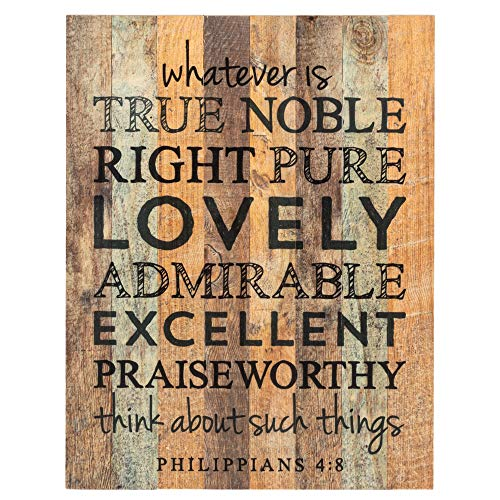 Whatever is True Noble Pure Lovely 16 x 12 Wood Pallet Design Wall Art Sign