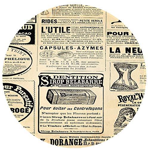 Odelia Palmer Periódico Vintage con felpudos publicitarios, Alfombrilla Redonda para Entrada, Alfombrilla para Puerta Delantera, alfombras de Oficina, decoración Interior y Exterior