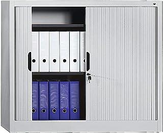 Armoire à rideaux hauteur 1030 mm - l x p 1000 x 420 mm, 2 tablettes - gris clair - Armoire Armoire métallique Armoire à r...