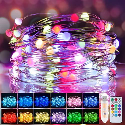 LED Lichterkette Bunt, 12 Farben 10M 100 LED USB Kupferdraht Wasserdichte Lichterkette Außen mit RGB Fernbedienung & 12 Modi Farbwechsel Lichterkette für Zimmer, Weihnachten, Party, Hochzeit, DIY usw
