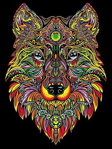 Terciopelo colorvelvet de 47x35 cm para colorear con caja de rotuladores - Lobo