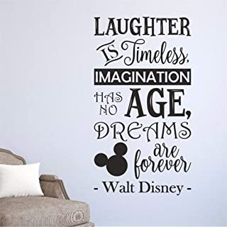Laughter is Timeless, Imagination Has No Age, Dreams are Forever Tinkerbell Wall Decal Sticker Art Mural Home Décor Quote Lettering Walt Disney Quote Nursery Cartoo Vinyl Sticker