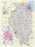 Cool Owl Maps Illinois State Wall Map Poster Large Print Rolled 24'Wx30'H (Laminated)