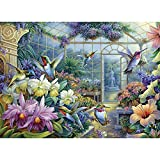 Bits and Pieces - 500 Piece Jigsaw Puzzle for Adults 18' x 24' - Antique Greenhouse - 500 pc Bird Fountain Beautiful Flower Garden Jigsaw by Artist Oleg Gavrilov