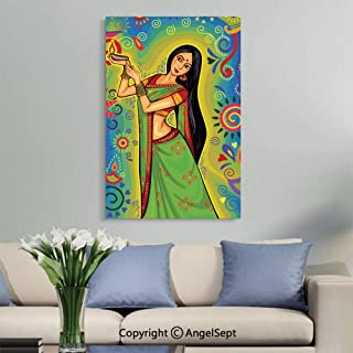 SfeatruAngel_SOSUNG Inspirational Framed Wall Art,Indian Woman with Diya Decoration for Diwali Festival Celebration in(18