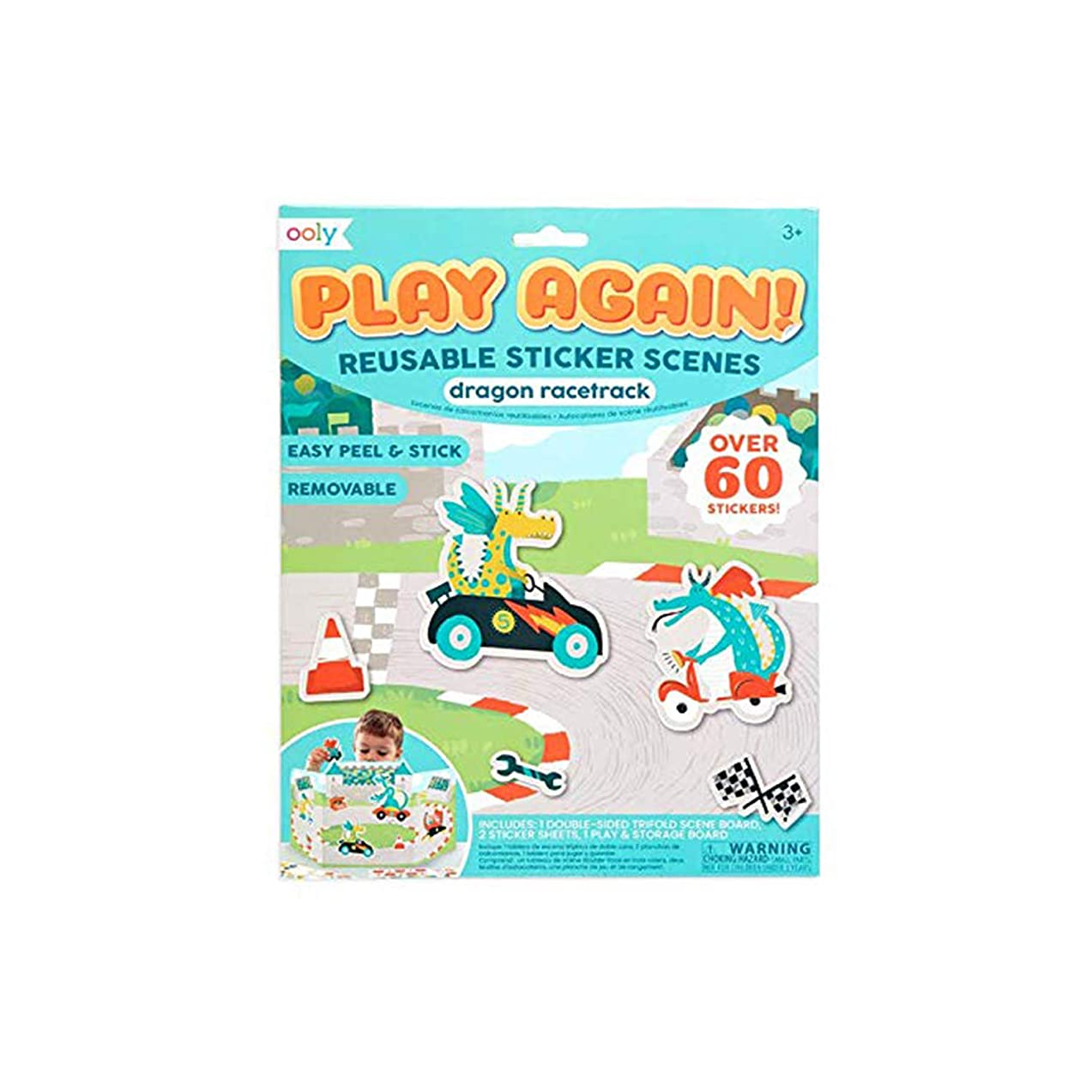 OOLY, Play Again! Reusable Sticker Scenes: Dragon Racetrack