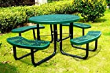 Lifeyard 46' Steel Round Picnic Table, Thermoplastic Coated, Green