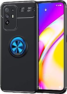 جراب TingYR لهاتف Oppo A94 5G، قوس بإبزيم دائري، TPU ناعم، قطعة مغناطيس سيارة، جراب هاتف لهاتف Oppo A94 5G. (أسود/أزرق)