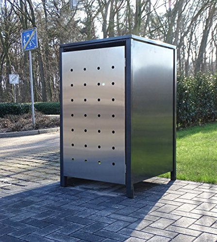 1 Mülltonnenbox Edeldesign No.1 für 120 Liter-Mülltonne Anthrazit - Edelstahl / witterungsbeständig durch Pulverbeschichtung / mit Klappdeckel und Fronttür aus Edelstahl