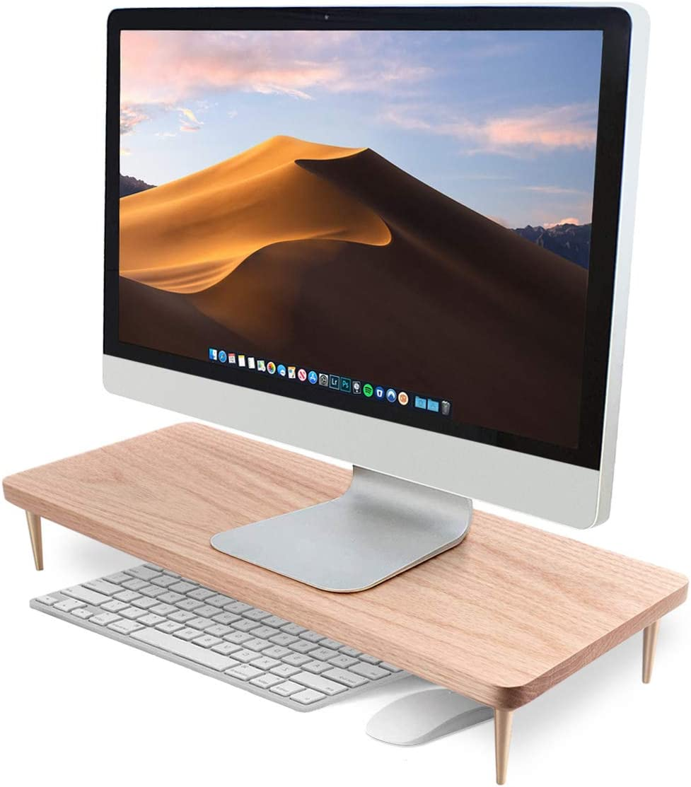 Monitor Stand Wood Riser for iMac Laptop Computer Monitor – A Sturdy Computer Stand to Elevate Your Screen and Reduce Eye Strain and Maintain Body Position