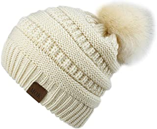 Soft Winter Slouchy Beanie Cap for Women Chunky&Warm Cable Knit Ski Cap with Pom Pom.Momoon