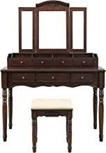 VASAGLE Vanity Makeup Set with 7 Drawers, 2 Brush Slots and 4 Open Compartments, Dressing Table with Tri-Fold Necklace Hooked Mirror, Solid Wood Legs, Cushioned Stool, Walnut