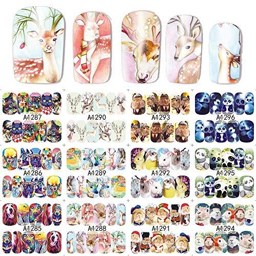 12 dessins/Set Nail Sticker Nouvel Animal Chat/Lapin/Panda/Cerf Autocollants Couverture Complète pour Ongles DIY Beauté Filigrane Outils SAA1285-1296