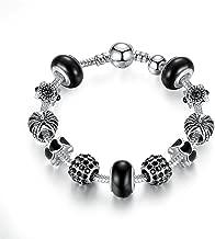 LONGTOU Silver Charm Bangle with Royal Crown Charm Crystal Ball Bracelet