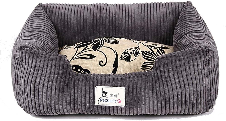 Pet bed Pet Mat, Large Dog Kennel Cat House Removable And Washable Pet Nest Wearresistant Bite Pet Bed (Size   75×55×20cm)
