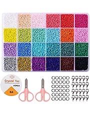 Cuentas de Colores Perlas de Vidrio para Hacer Joyas de Pulseras Collares Regalo para Niños