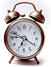 Qualimate Analogue Vintage Look Twin Bell Table Alarm Clock Wind-Up Clock with Night Led Light | Alarm Clocks for Students (Copper)