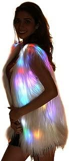 Light Up Jacket Women Faux Fur Coat Furry Led Vest Glow Waistcoat White Fuzzy Burning Man Ravewear Light Up Costumes